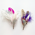 his and her wedding feather corsage pins Holly Young