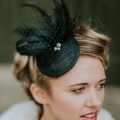 classic black wedding fascinator Holly Young