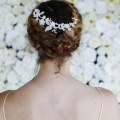 silver lace wedding hair vine