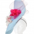blue and pink statement hat