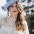 50s inspired blue occasion hat
