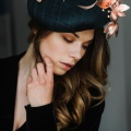 rose gold leather and navy occasion hat