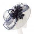 navy and ivory wedding hat