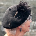 black ostrich feather hat pin