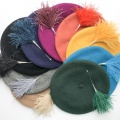 Mae feather hat pins with berets