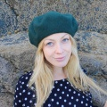 Womens green week beret