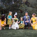 beautiful bridesmaids in yellow