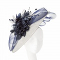 large ivory and navy races hat