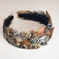 wide pheasant feather and spot hair band