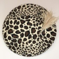 leopard print beret and hat pin