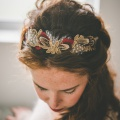 gold red feather crown