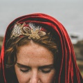 red velvet cape and crown for a bride
