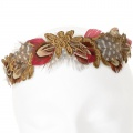 red feather gold lace bridal crown