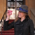 feather trilby ribbon for MBE Frances Houghton