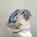 ivory and blue petals occasion hat