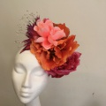 oversized flower crown in pink and orange