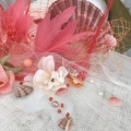 coral pearl and shell detail from bespoke hat