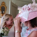 pink and ivory mother of the bride hat