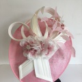 pink and ivory sculptural occasion hat