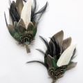 green feather hair clip and lapel pin set