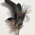 Black pheasant cockerel peacock pin brooch
