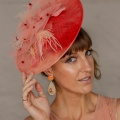 elegant coral disk hat for the races