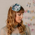 blue metallic flower fascinator