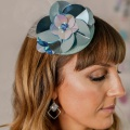 aqua blue metallic headpiece