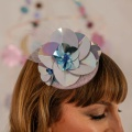 lilac sequin fascinator