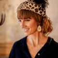 leopard beret with black hat pin