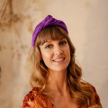 purple knotted headband Holly young