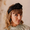 black silk knotted headband