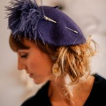 navy feather pom pom hat pin