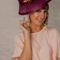 plum and peach occasion hat holly young