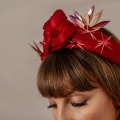 sculptural red turban wrap headband