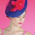 navy and pink occasion hat
