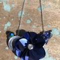 blue sequin flower necklace