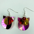 pink red and gold geometric earrings
