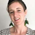green parot feather earrings