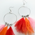 Red orange pink feather hoop earrings