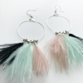 Black mint and mink hoop earrings