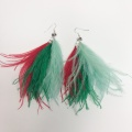 statement feather tassel earrings