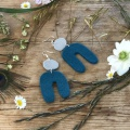 Teal and grey felt earrings