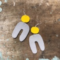 grey and yellow felt earrings