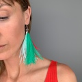 green and red tassel earrings