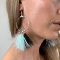 mint black and mink tassel hoops
