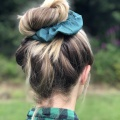forest green silk scrunchie