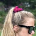 ruby red silk scrunchie
