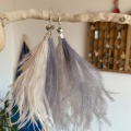 grey and peach feather tassel earrings