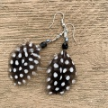 spotty guinea fowl feather earrings